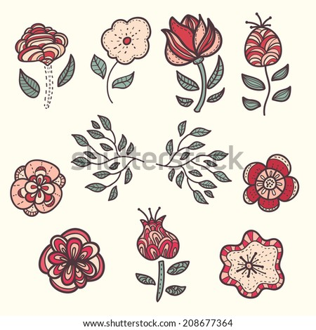 Vector abstract  set of doodle flower. Doodle flower. - stock vector