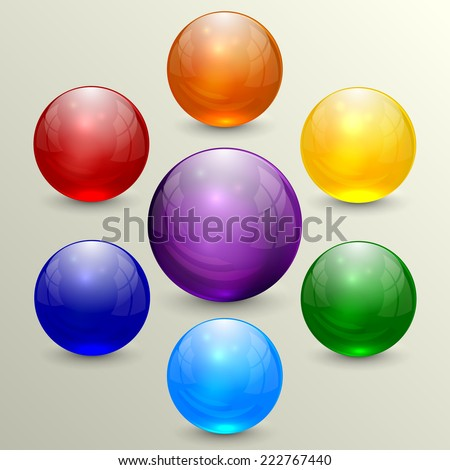 Vector abstract set of multicolor crystal spheres - stock vector