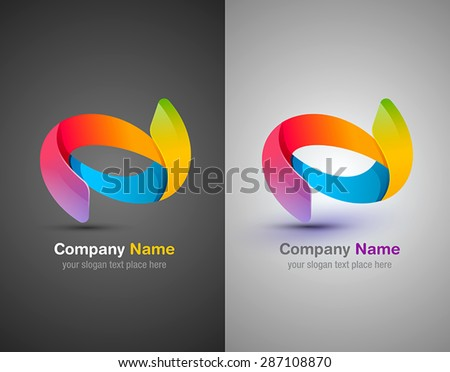 Vector abstract shapes. Colorful design template. Ribbon shapes. Dynamic style logo - stock vector