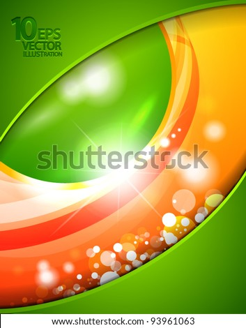 Vector abstract shiny design template with green sphere and orange background - stock vector