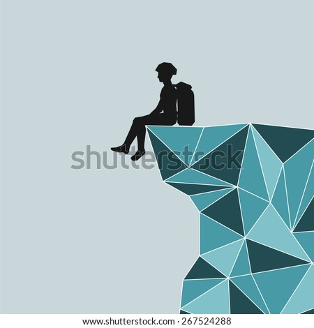 Vector abstract silhouette climber with equipment sitting on the edge of the mountain - stock vector
