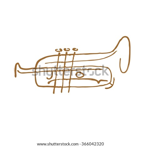 Vector abstract silhouette of trumpet. Symbol of jazz festival. Sign for music shop. Trumpet isolated. Trumpet icon. - stock vector