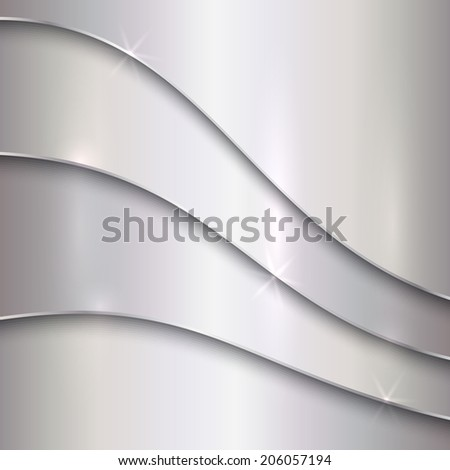 Vector abstract silver metal background with curves - stock vector