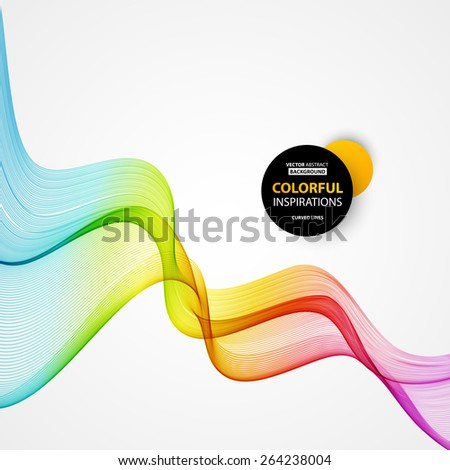 Vector Abstract spectrum curved lines background. Brochure design. Colorful wave. - stock vector