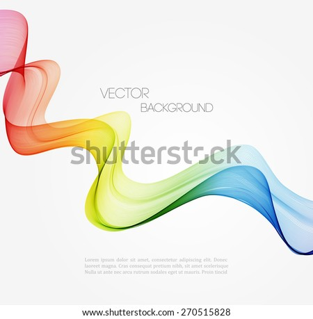 Vector Abstract spectrum curved lines background. Template brochure design - stock vector