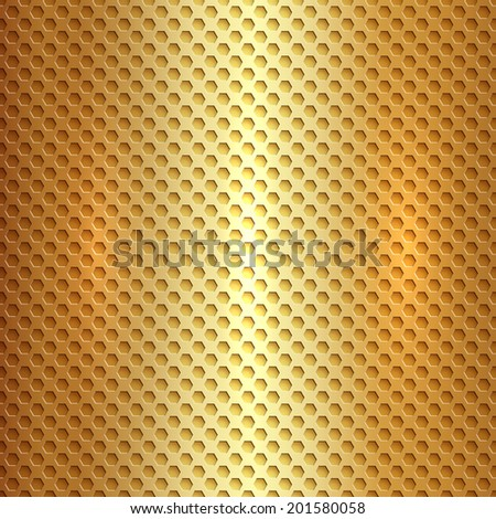 Vector abstract square metal gold hexagon cell grid - stock vector