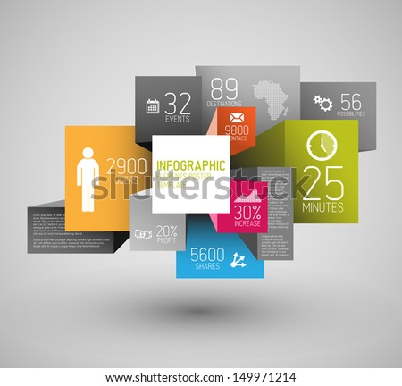 Vector abstract squares and cubes background illustration / infographic template with place for your content - stock vector