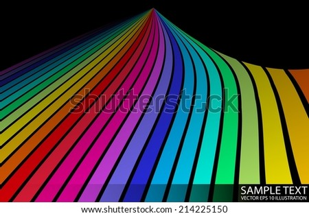 Vector abstract striped rainbow peak background - Abstract rainbow colorful stripes swirled - stock vector