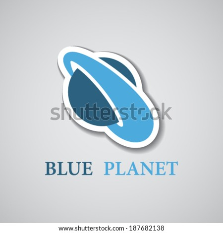 vector abstract stylized blue planet icon - stock vector