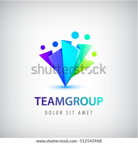 Vector abstract stylized family of 5, team lead icon, logo, sign isolated. Business, group of people, cooperation