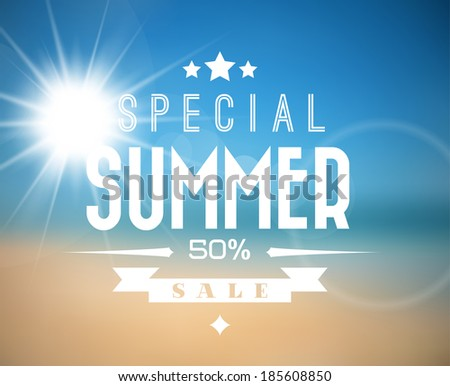 Vector abstract summer sale poster with beach background - stock vector