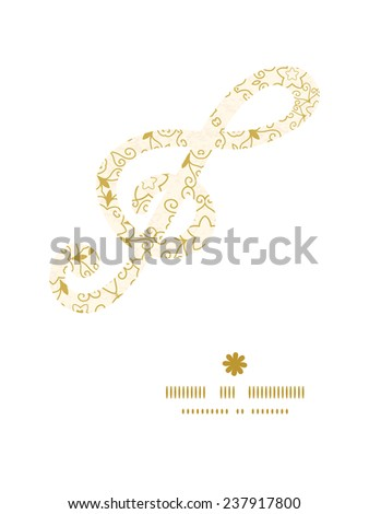 Vector abstract swirls old paper texture g_clef musical silhouette pattern frame - stock vector