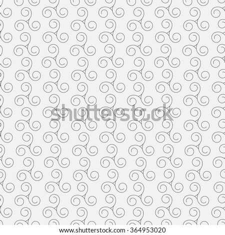 Vector abstract swirls seamless pattern background with hand drawn curl elements - stock vector