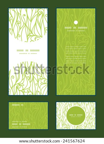 Vector abstract swirls texture vertical frame pattern invitation greeting, RSVP and thank you cards set - stock vector