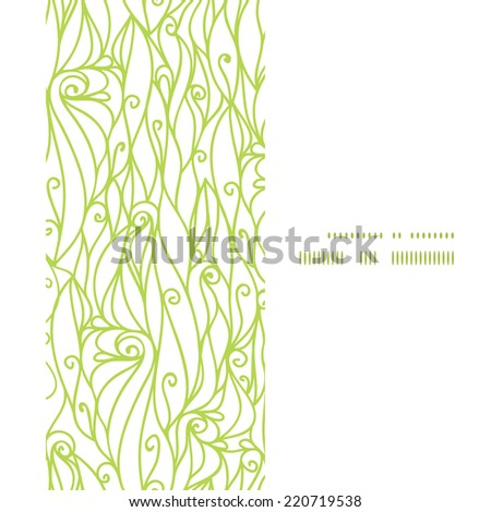 Vector abstract swirls texture vertical frame seamless pattern background - stock vector