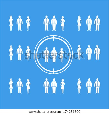 vector abstract target audience icon or pictogram | flat design business infographics element white on blue background - stock vector