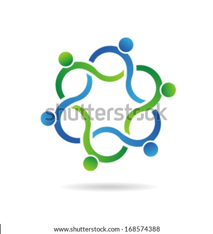 Vector Abstract Teamwork Wave Group - 6 elements - stock vector
