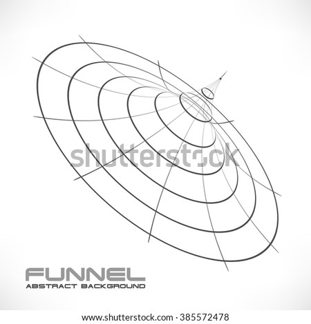 Vector Abstract Technology background. Abstract 3d Surface Looks Like Funnel. Futuristic Technology Style. Perspective Grid Background Texture. Vector Illustration. - stock vector