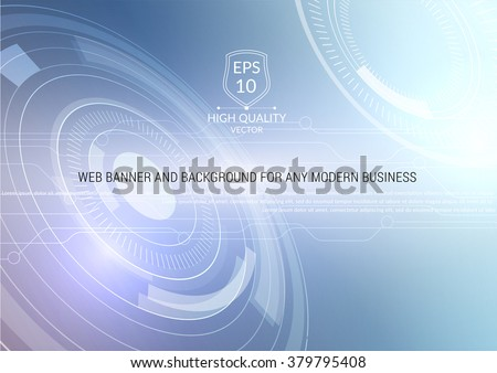 Vector abstract technology background with communication concept - rounds, circles and hexagons - website banner. - stock vector
