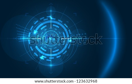 vector abstract technology background with eye in the middle,eps10 file,gradient mesh and transparency used, raster version available - stock vector
