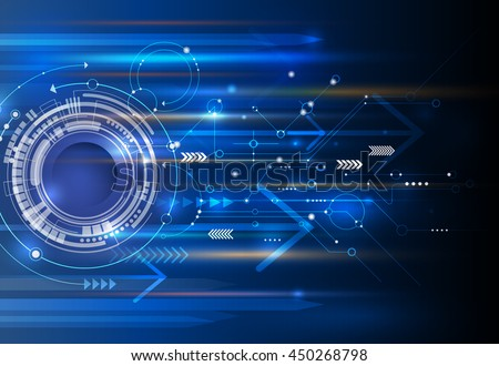 Vector Abstract technology background with eyeball, circuit board, speed motion blur of light rays, arrow, stripe line on dark blue background. Hi-tech, science, futuristic, energy technology concept - stock vector
