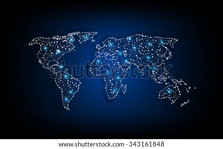 vector abstract technology concept world map digital innovation pattern - stock vector