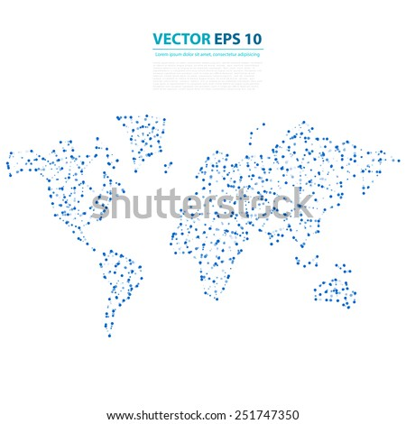 Vector Abstract Telecommunication Earth Map. World map connection illustration - stock vector