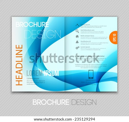 Vector Abstract template brochure design with blue wave - stock vector
