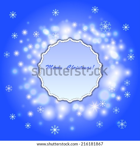 Vector abstract texture christmas background with frame. Holiday illustration with stars