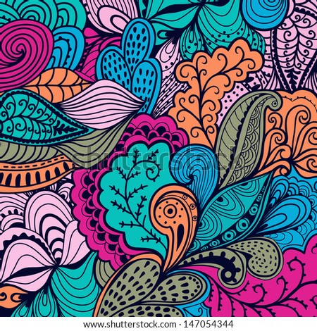Vector abstract texture with abstract flowers. Endless background. Ethnic lace pattern. Vector backdrop. Bright pattern. Summer template. Use for wallpaper,pattern fills, web page background - stock vector