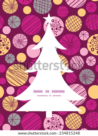 Vector abstract textured bubbles Christmas tree silhouette pattern frame card template - stock vector
