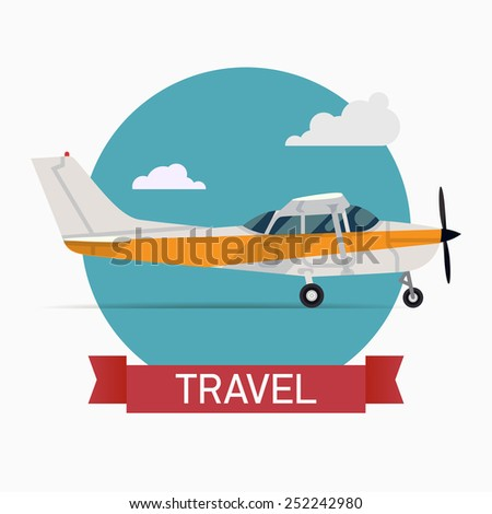 Vector abstract transport and travel flat design web icon on travel with small personal single engine airplane   Air taxi light aircraft standing with blue sky circle round background, side view - stock vector