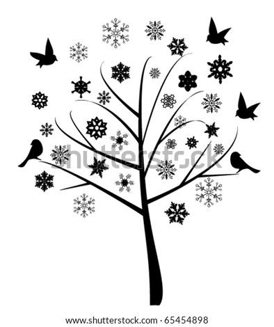 vector abstract tree with birds and snowflakes - stock vector