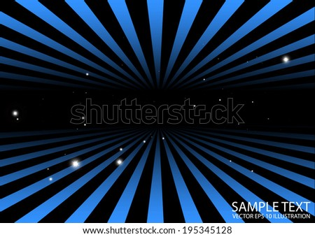 Vector abstract tunnel blue background illustration - Blue vector space and stars template - stock vector