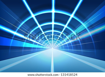 vector abstract tunnel illustration, eps10 file, gradient mesh and transparency used, raster version available - stock vector