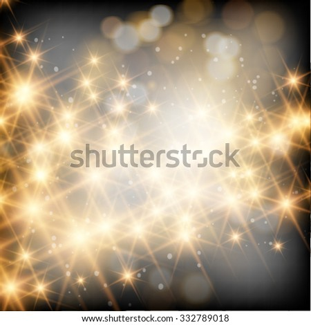 Vector abstract twinkled bright background with bokeh defocused golden lights. - stock vector