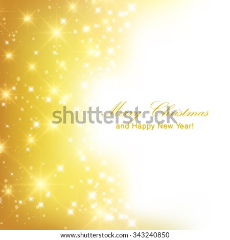 Vector abstract twinkled bright background with bokeh defocused golden lights.