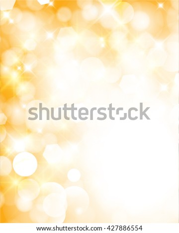 Vector abstract twinkled bright background with bokeh defocused golden lights - stock vector