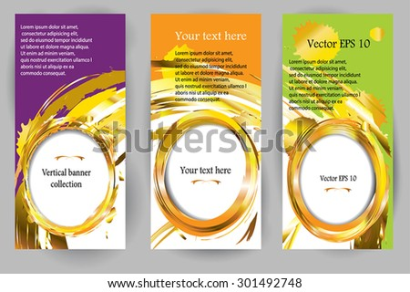 Vector abstract vertical banner set with forms of empty frames for  custom www design. Golden frames and splashes, paint be brush. 3 various color. Vertical design template. - stock vector