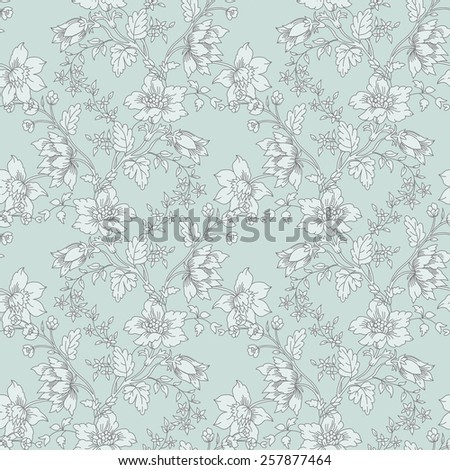 Vector Abstract vintage seamless damask pattern with flower  - stock vector