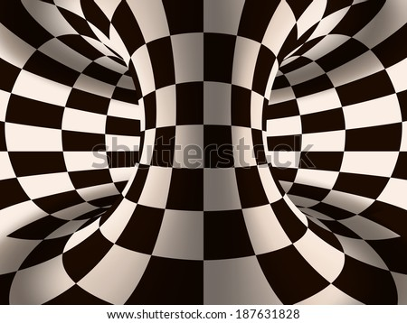 Vector abstract volume illustration. Black and white chess spiral optical illusion - stock vector