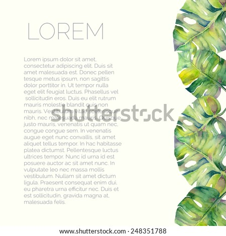 Vector abstract watercolor background with liana leaves. Design template with place for your text. Can be used for web pages, identity style, printing, invitations, banners - stock vector