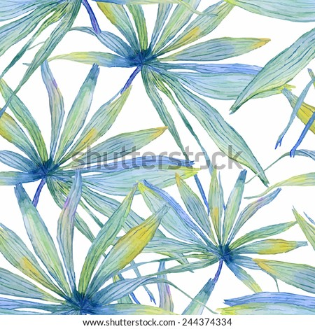 Vector abstract watercolor banners with palm leaves. Design template with place for your text. Can be used for web pages, identity style, printing, invitations, banners, cards, leaflets. - stock vector