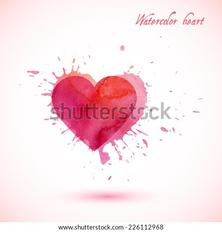 Vector abstract watercolor heart with splashes. - stock vector