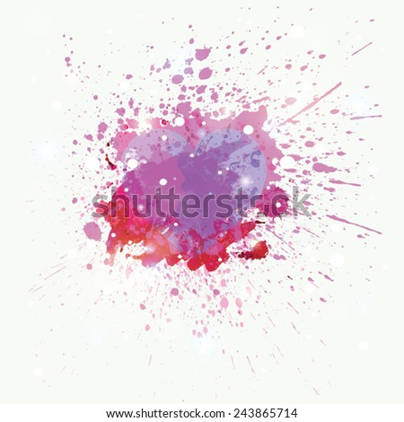 Vector abstract watercolor heart with splashes - stock vector