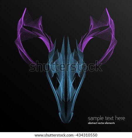 Vector abstract waves and lines background. Curvy design element.  Deer made with blend effect. Desktop wallpaper.