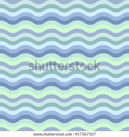 Vector abstract waves seamless pattern. Shades of cyan. Wavy line texture.