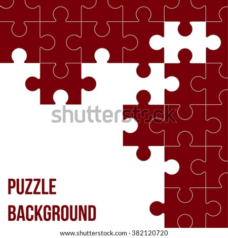 Vector Abstract white background made from colored puzzle pieces and place for your content - stock vector