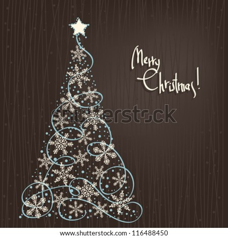 Vector Abstract Winter Background with Stars Christmas Tree - stock vector