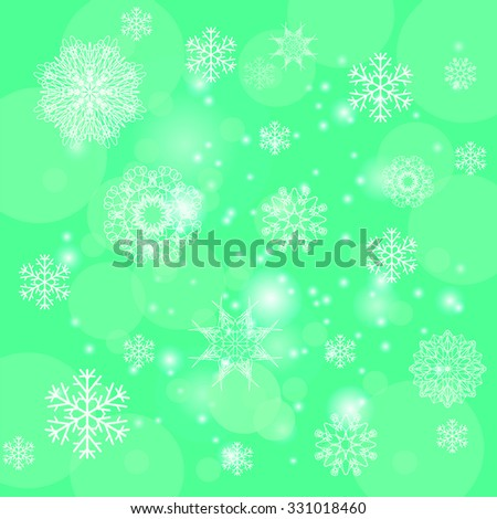 Vector Abstract Winter Snow Background. Abstract Green Winter Pattern.  Snowflakes Background - stock vector